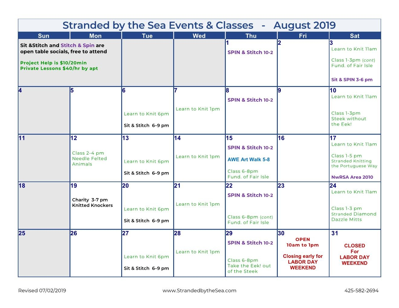 Calendar of Events – August 2019