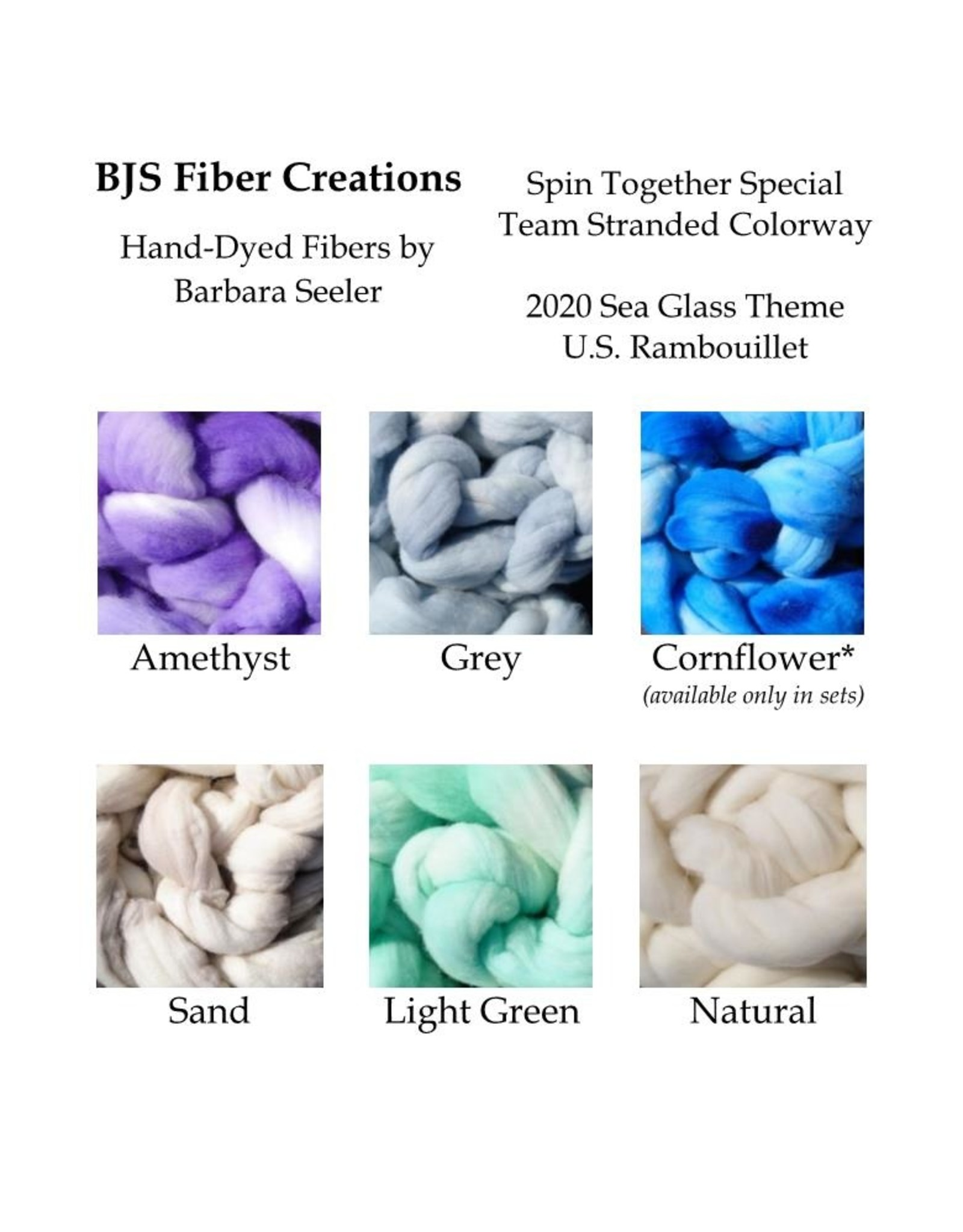 BJS Fiber Creations Spin Together Team 2020 Sea Glass 2oz Bumps