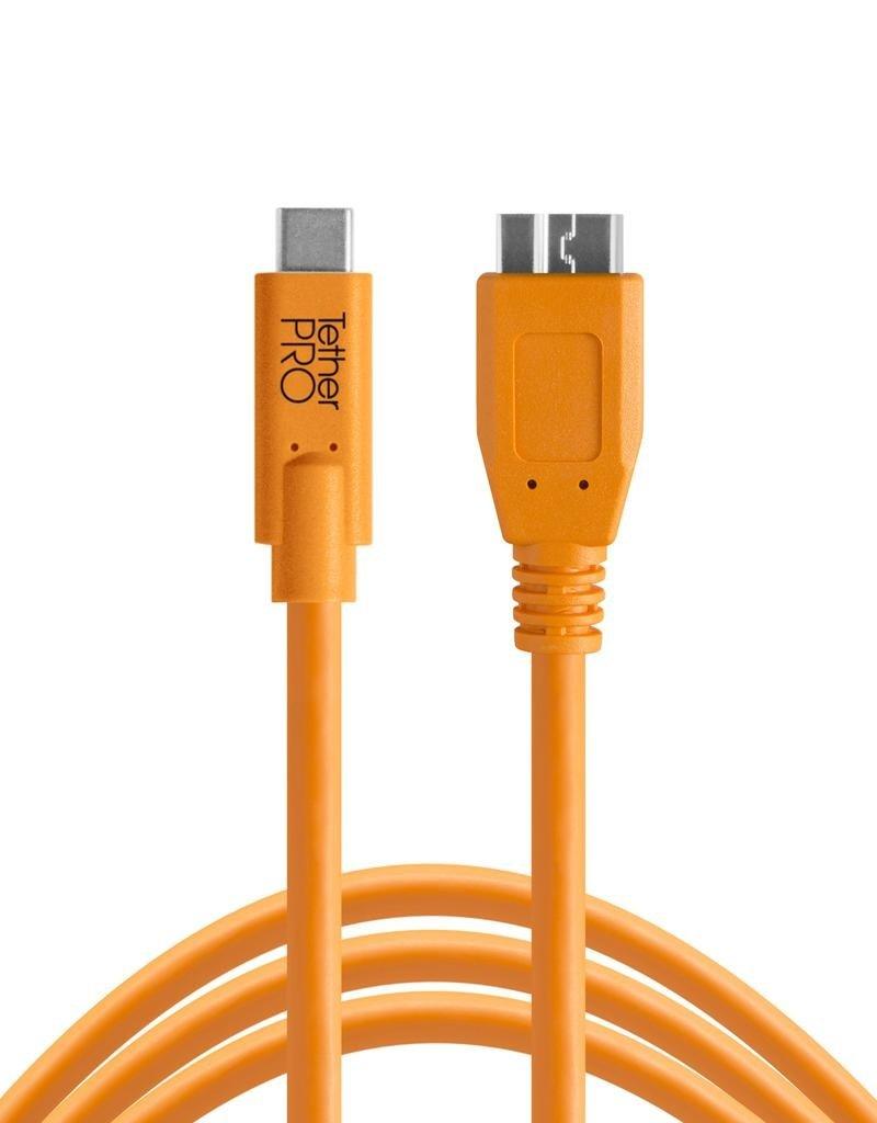 Tether Tools Tether Tools TetherPro USB-C to 3.0 Micro-B, 15' (4.6m), High-Visibility Orange
