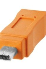 Tether Tools Tether Tools TetherPro USB-C to 2.0 Mini-B 8-Pin, 15' (4.6m), High-Visibility Orange