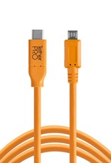 Tether Tools Tether Tools TetherPro USB-C to 2.0 Micro-B 5-Pin, 15' (4.6m), High-Visibility Orange