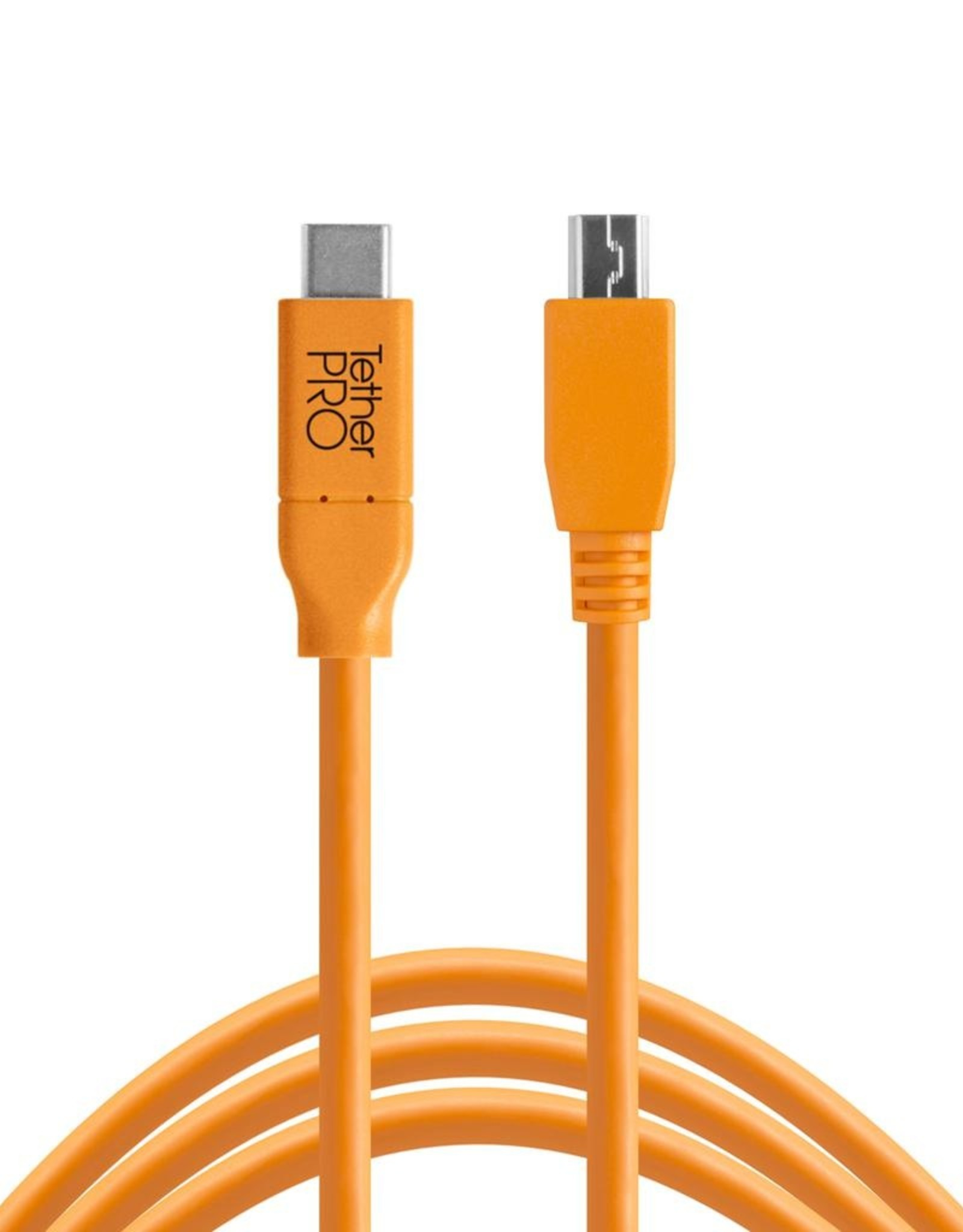 Tether Tools Tether Tools TetherPro USB-C to 2.0 Mini-B 5-Pin, 15' (4.6m), High-Visibility Orange