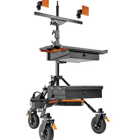 Inovativ Inovativ AXIS COMMAND STATION  includes the AXIS Stand + Wheel System, WorkSurface Pro, Dual Bar with two Pro Monitor Mounts and 2 Baby Pins, Case Platform with Bottom Drawer, 2x Trough, and Weight Hanger + 25lb Weight Bag.