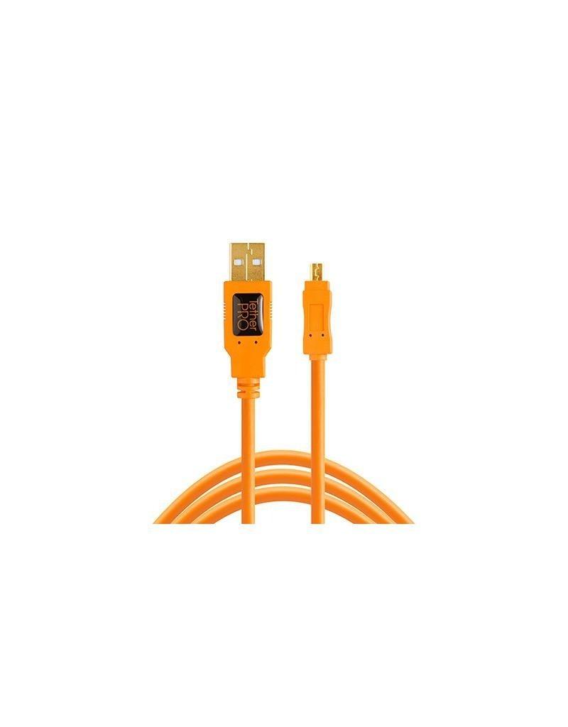 Tether Tools Tether Tools TetherPro USB 2.0 to Mini-B 8-Pin, 15' (4.6m), High-Visibility Orange
