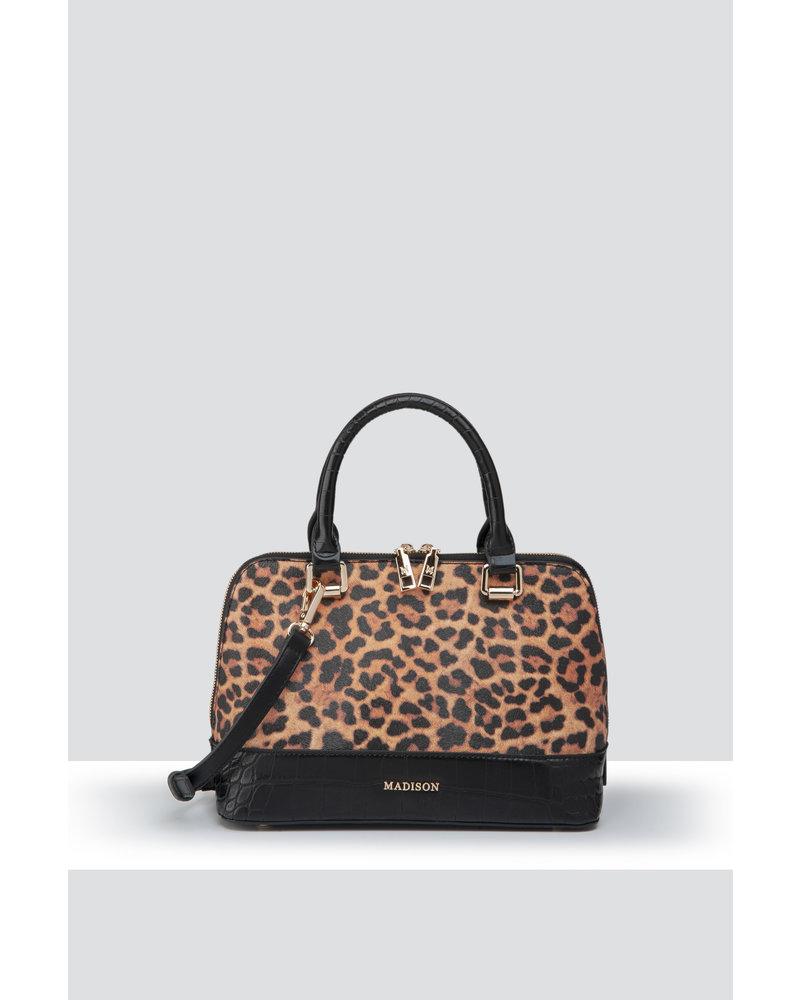 MADISON Pippa Mini Dome Satchel - Leopard/Black Croc