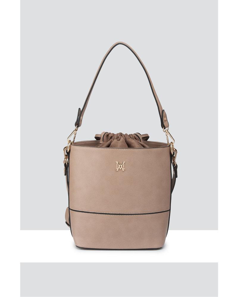 MADISON KIMMI BUCKET BAG WITH DRAWSTRING CLOSURE - TAUPE/BLACK