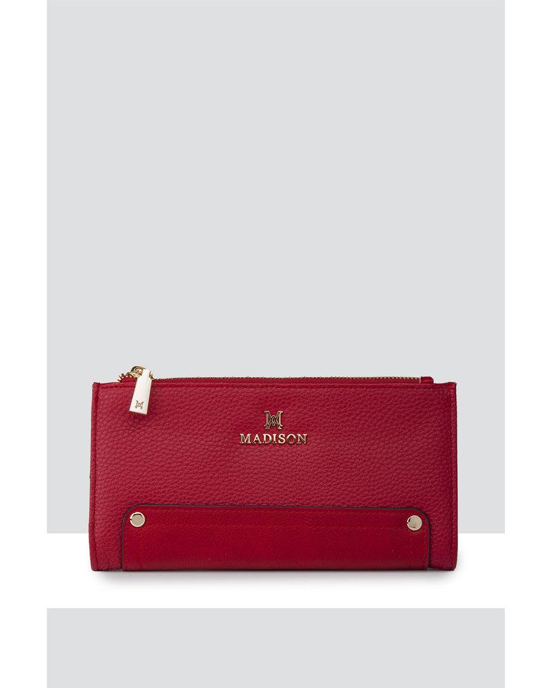 MADISON Lyla Double Zip Bi Fold Clutch Wallet - Red