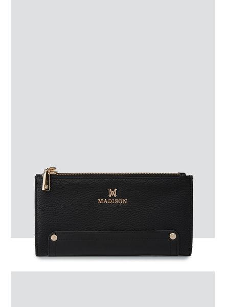 MADISON Lyla Double Zip Bi Fold Clutch Wallet - Black