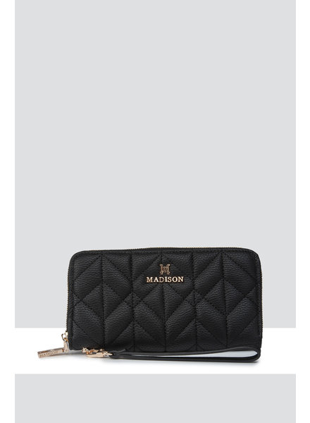 MADISON DARCY QUILTED ZIP AROUND GUSSETED CLUTCH WALLET - BLACK