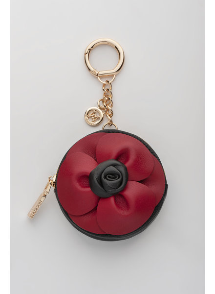 MADISON LOTTIE CIRCLE COIN CASE CLIP ON - BLACK & RED FLOWER