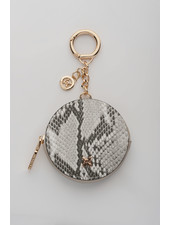 MADISON Lottie Circle Coin Case Clip on - Taupe Python