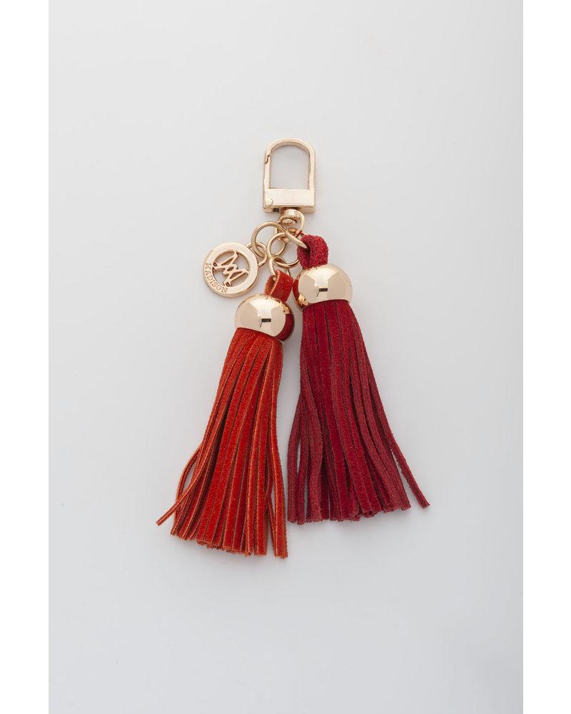 MADISON Darcie Mini 2 Tassel Charm Clip on - Red/Orange