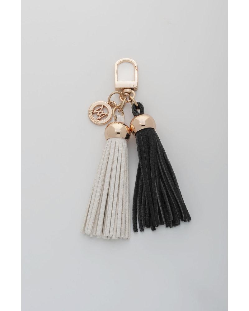 MADISON Darcie Mini 2 Tassel Charm Clip on - Black/White