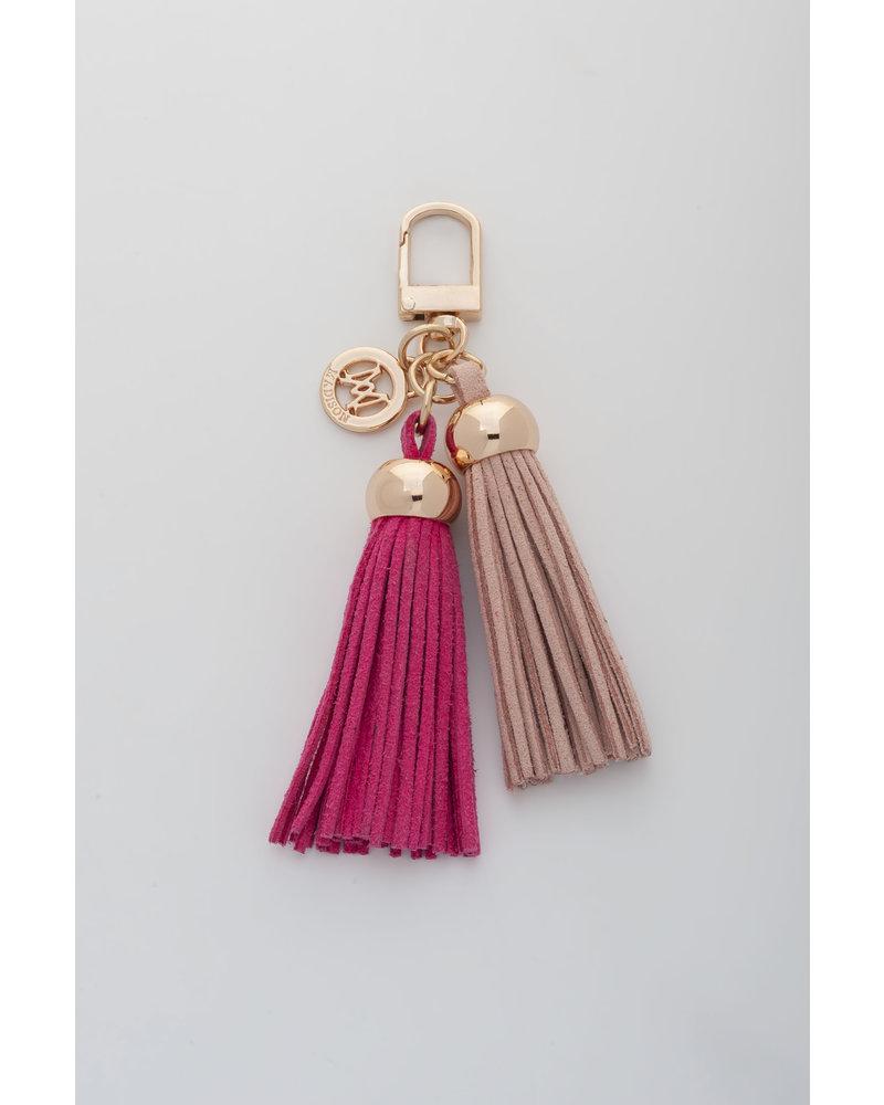MADISON Darcie Mini 2 Tassel Charm Clip on - Peony Pink/Fushia