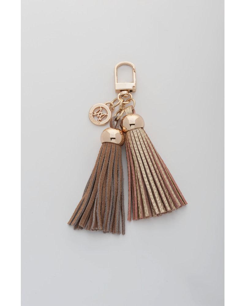 MADISON Darcie Mini 2 Tassel Charm Clip on - Nougat/Gold