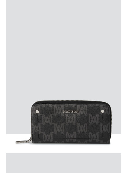 MADISON MILA ZIP AROUND GUSSETED WALLET WITH FRONT TAB - BLACK MA PRINT