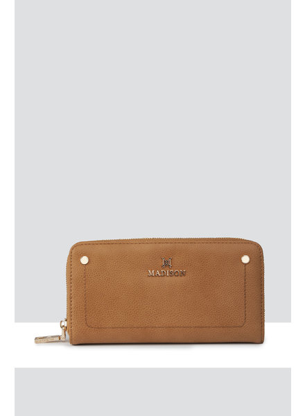 MADISON Mila Zip Around Gusseted Wallet w/ Front Tab - Lt Tan