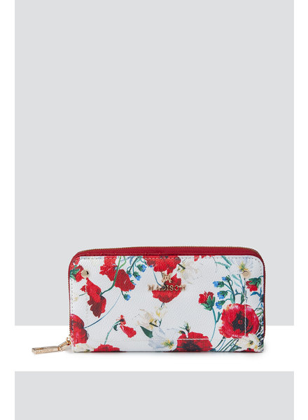 MADISON Mila Zip Around Gusseted Wallet With Front Tab - White Poppy Print