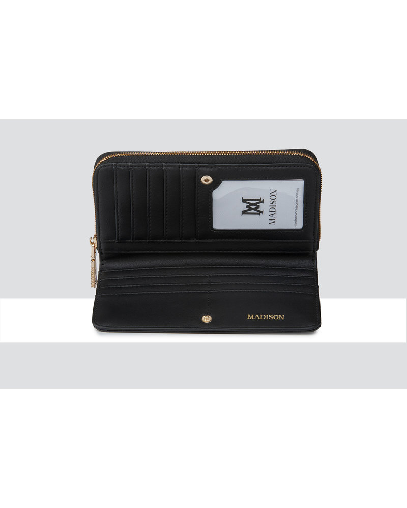 MADISON MILA ZIP AROUND GUSSETED WALLET WITH FRONT TAB - BLACK