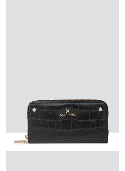 MADISON Mila Zip Around Gusseted Wallet With Front Tab - Black Croc