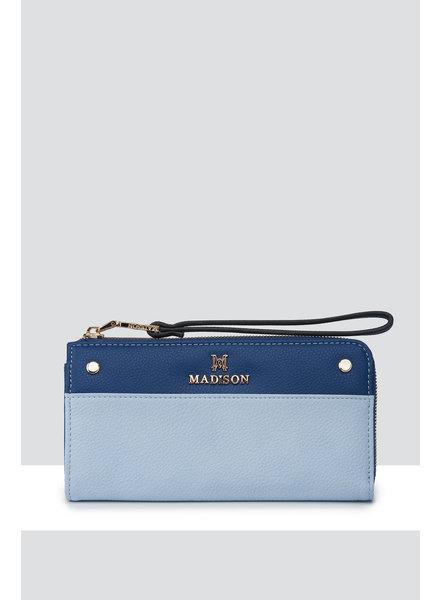 MADISON Lacey Slim L-Zip Clutch Wallet w/ Wristlet - Pale Blue/Royal Blue/Black