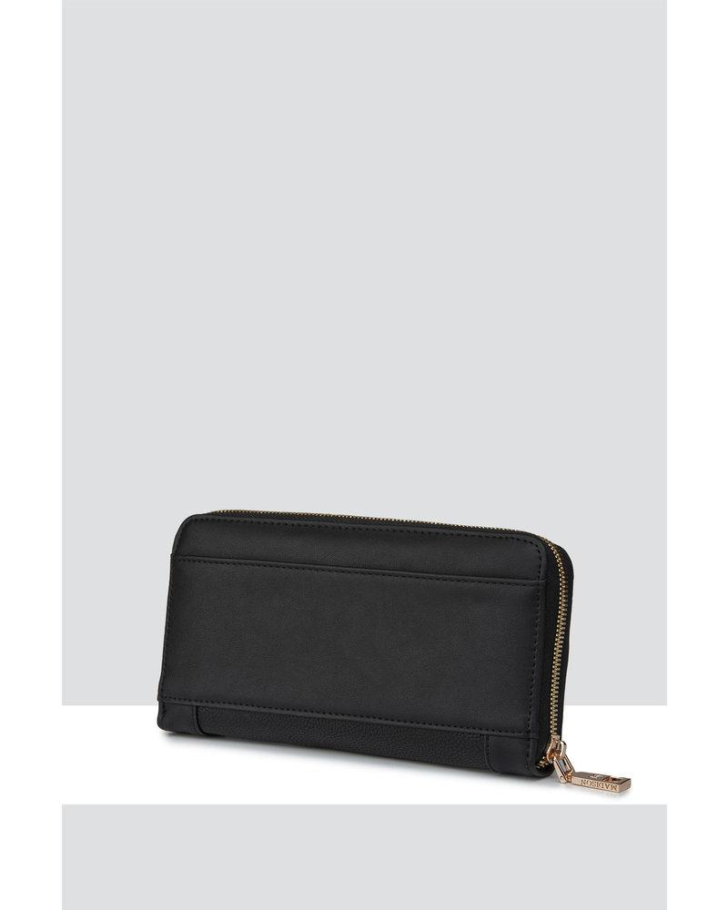 MADISON Abigail Zip Around Open Style Clutch Wallet - Black