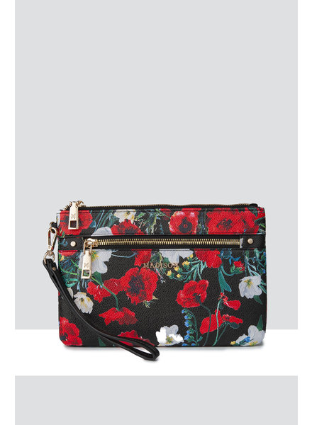 MADISON ELIZA LARGE ZIP POUCH WITH ZIP FRONT - BLACK POPPY
