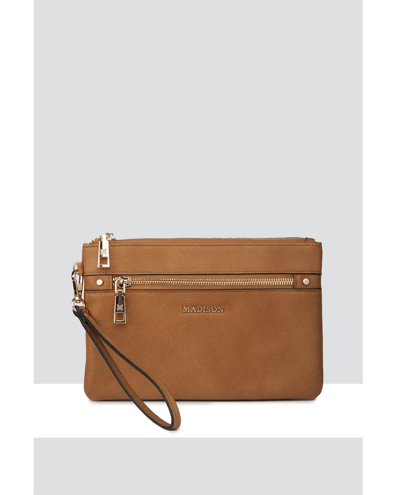 MADISON ELIZA LARGE ZIP POUCH WITH ZIP FRONT - LT TAN