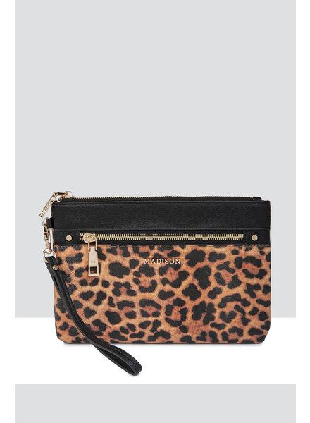 MADISON Eliza Large Zip Pouch w/ Front Zip - Leopard/Black