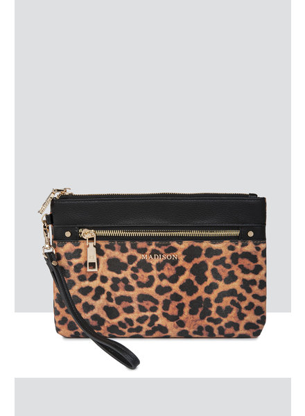 MADISON ELIZA LARGE ZIP POUCH WITH ZIP FRONT - LEOPARD/BLACK