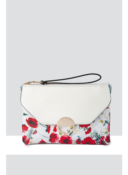 MADISON BELLA LARGE ZIP POUCH WITH FRONT POCKET - WHITE POPPY PRINT