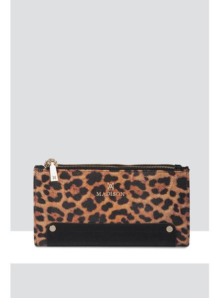 MADISON Lyla Double Zip Bi Fold Clutch Wallet - Leopard/Black