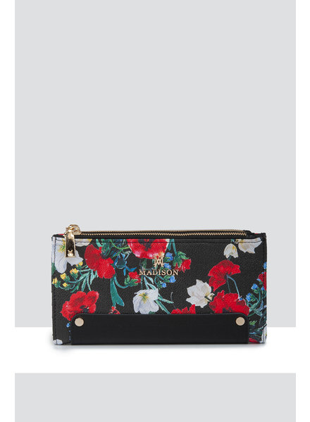 MADISON Lyla Double Zip Bi Fold Clutch Wallet - Black Poppy