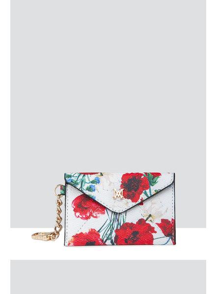 MADISON AMBER ENVELOPE CARD CASE CLIP ON - WHITE POPPY PRINT