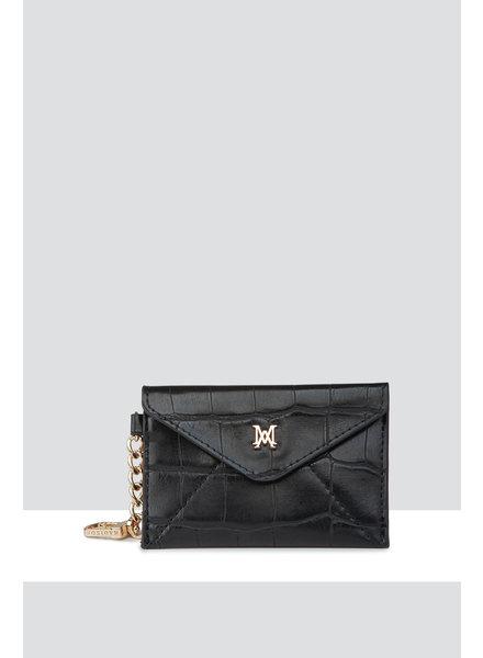 MADISON Amber Envelope Card Case Clip on - Black Croc