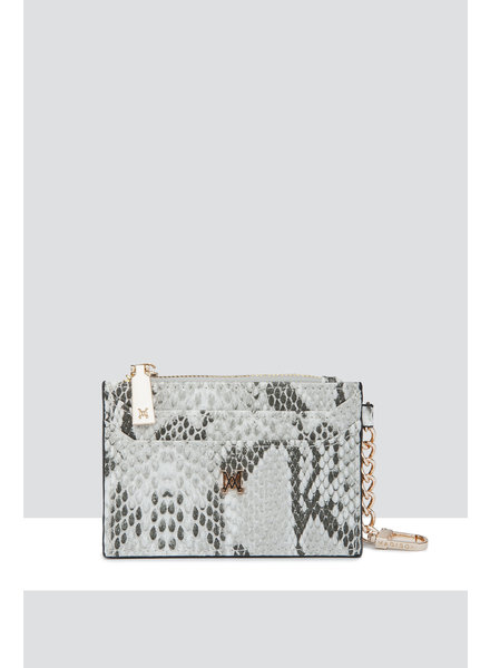 MADISON HANNAH ZIP CARD CASE CLIP ON - TAUPE PYTHON
