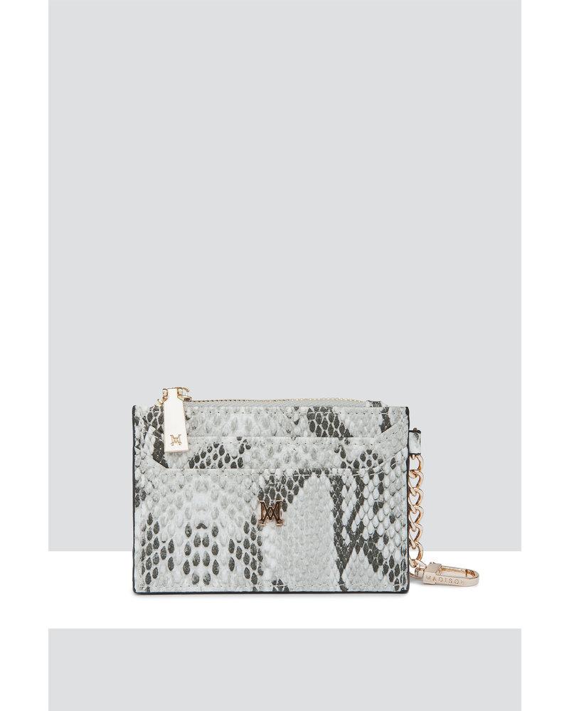 MADISON Hannah Zip Card Case - Taupe Python