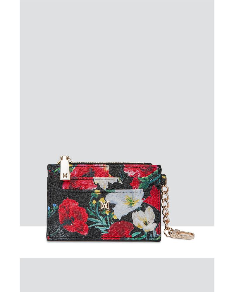MADISON Hannah Zip Card Case - Black Poppy
