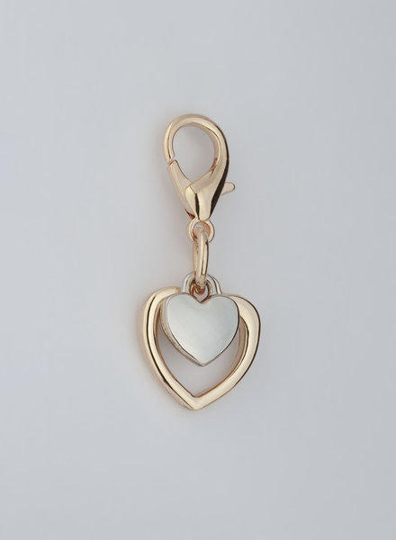 MADISON 2 Heart Charm - Light Gold/Silver