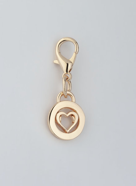 MADISON HEART CHARM - LT GOLD