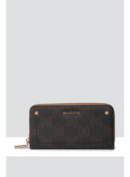MADISON MILA ZIP AROUND GUSSETED WALLET WITH FRONT TAB - CHOC MA Print