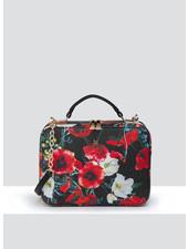 MADISON Isla Top Handle Crossbody Box Bag - Black Poppy Print
