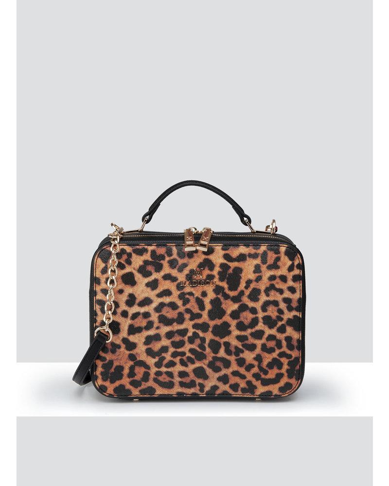 MADISON Isla Top Handle Crossbody Box Bag - Leopard/Black