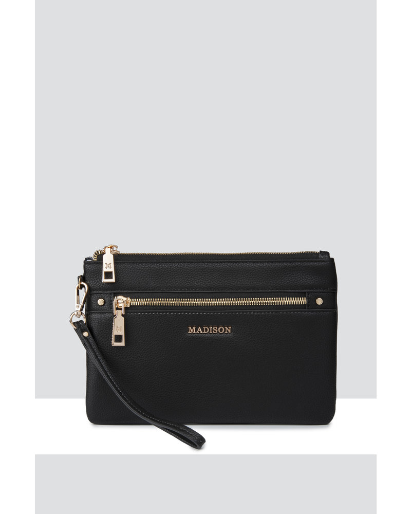 MADISON ELIZA LARGE ZIP POUCH WITH FRONT ZIP MP-1002 BLACK
