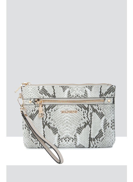 MADISON ELIZA LARGE ZIP POUCH WITH ZIP FRONT - TAUPE PYTHON