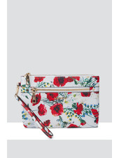 MADISON ELIZA LARGE ZIP POUCH WITH ZIP FRONT - WHITE POPPY PRINT