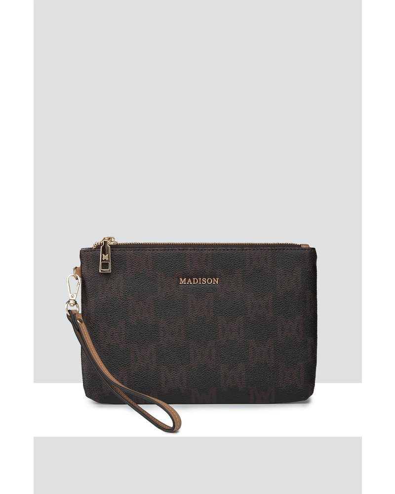 MADISON ELIZA LARGE ZIP POUCH WITH FRONT ZIP MP-1002A CHOCOLATE - MA Print POUCH
