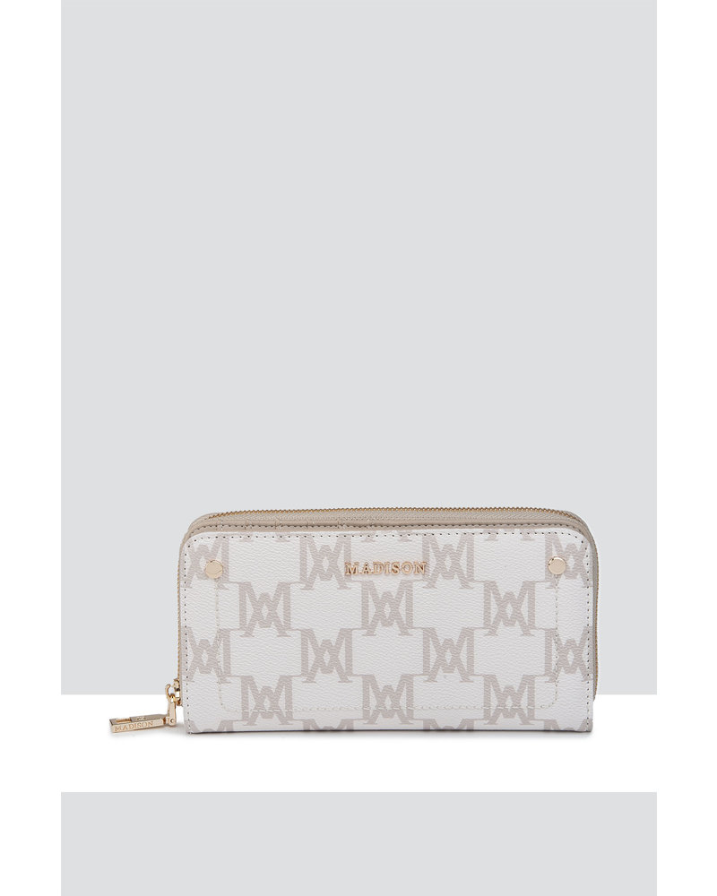 MADISON MILA ZIP AROUND GUSSETED WALLET WITH FRONT TAB - ECRU - MA Print