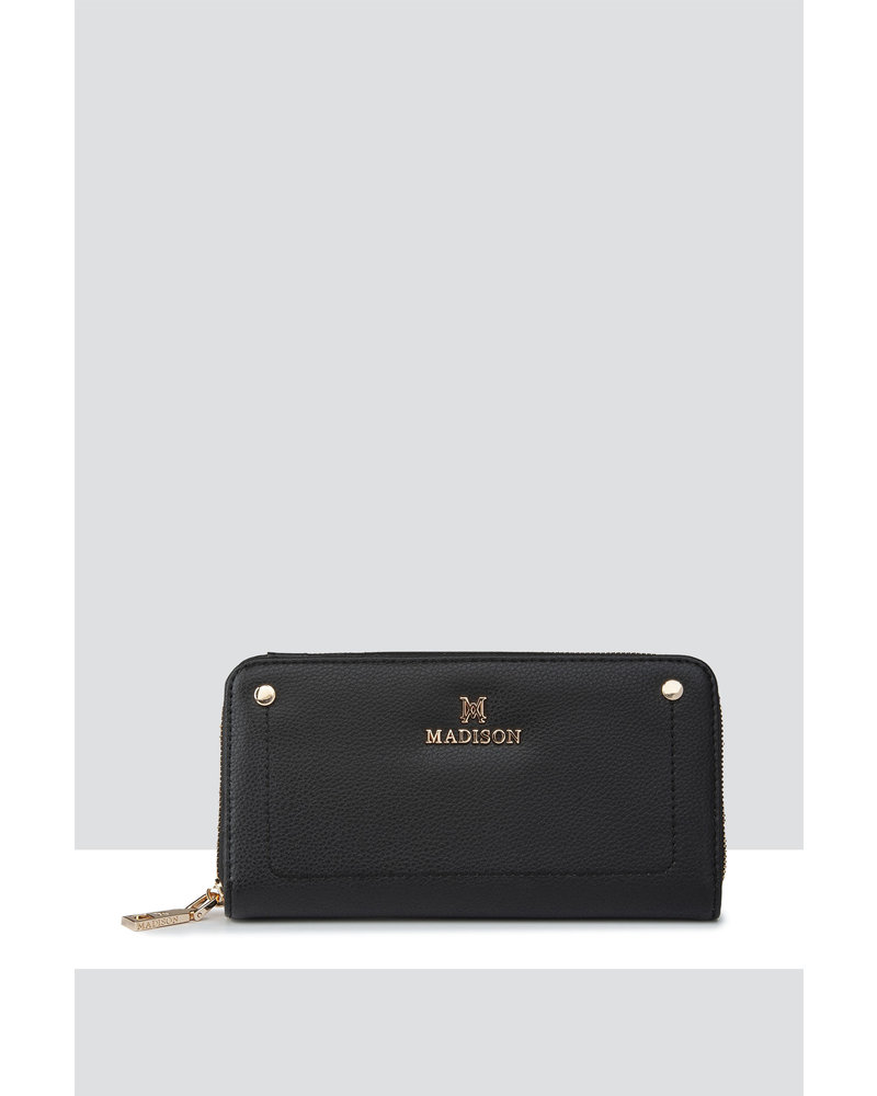 MADISON Darcy Zip Around Gusseted Clutch Wallet - Black