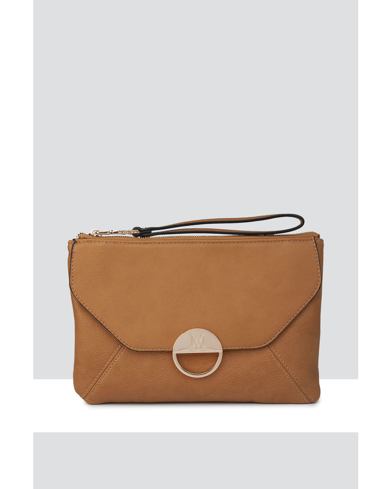 MADISON BELLA LARGE ZIP POUCH WITH FRONT POCKET -  TAN